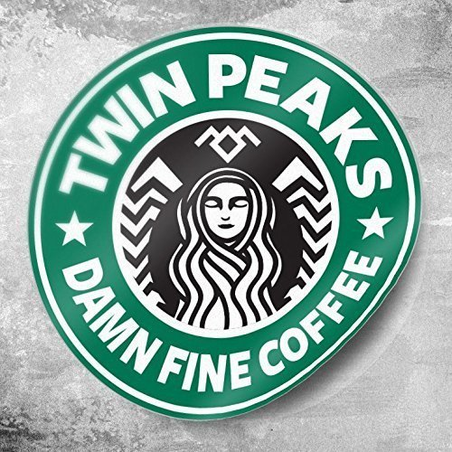 Twin Peaks, Starbucks Coffee 3×3 round stickers. Laura Palmer, wrapped in plastic, Damn Fine Coffee quote from Dale Cooper and Black Lodge symbol at t…