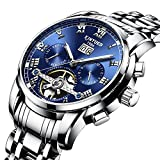 KINYUED Men's Stainless Steel Tourbillon Automatic Mechanical Watch Calendar Week Multifunctional Watch