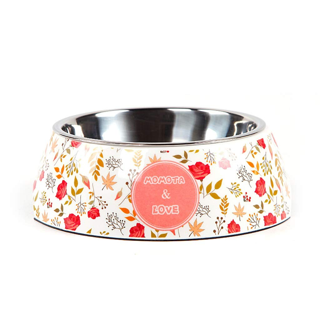 CXQ Dog Bowl Pet Bowl Dog Food Bowl Stainless Steel Non-Slip Double Layer Single Bowl Cat Bowl Floral Pet Supplies