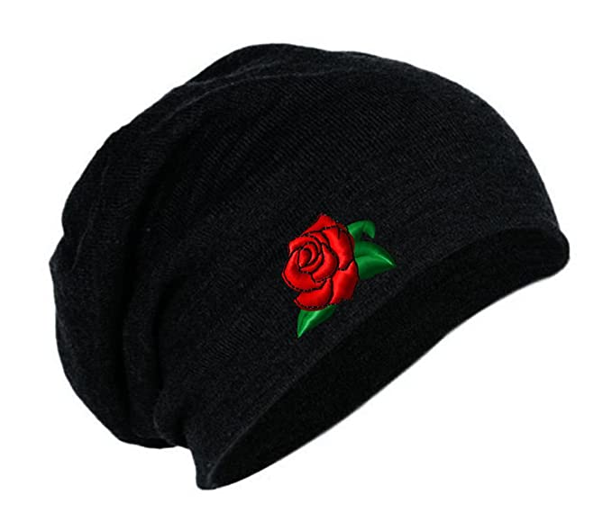 b3be809806b65 Speedy Pros Rose Flower Embroidery Embroidered Slouch Long Beanie Skully Hat  Cap Black