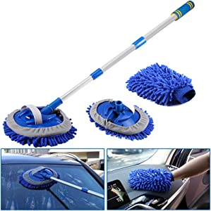 VOLADOR 2 in 1 Microfiber Car Wash Mop with Long Handle, Scratch Free Home Kitchen Car Cleaning Brush Kit for Windshield Tile Window -Washing Mitt & 2 PCs Replaceable Mop Head