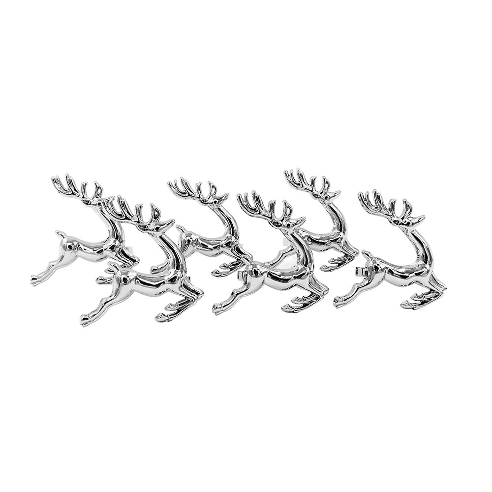 Elehere Christmas Napkin Rings Holders for Holiday Wedding Thanksgiving, Stainless Steel Dinner Parties Home Table Decoration, Silver (12)