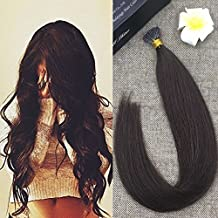 """Fshine 18"""" 0.8g per Strand 50 Strands Per Package Thick I Tip Extensions Color #2 Darkest Brown Pre-bonded Stick Tip Human Hair Extensions"""