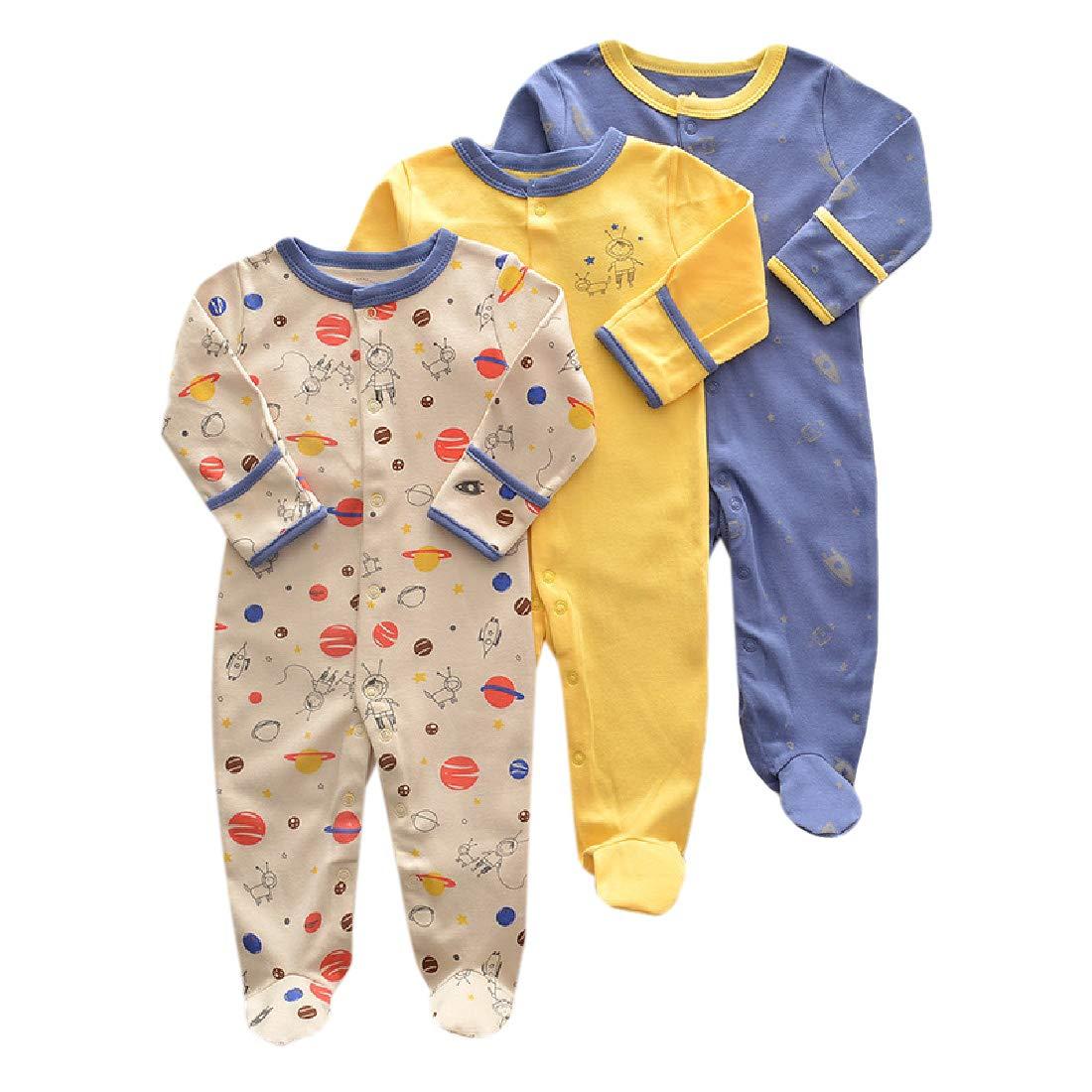 Zimaes Newborn Baby Cotton Set of 3 Long-Sleeve Romper Bodysuit Jumpsuit
