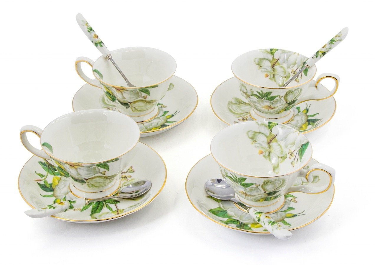 Porcelain Tea Cup and Saucer Coffee Cup Set White color with Saucer and Spoon 8 oz Set of 4 (Magnolia Grandiflora) Shining Image SYNCHKG061692