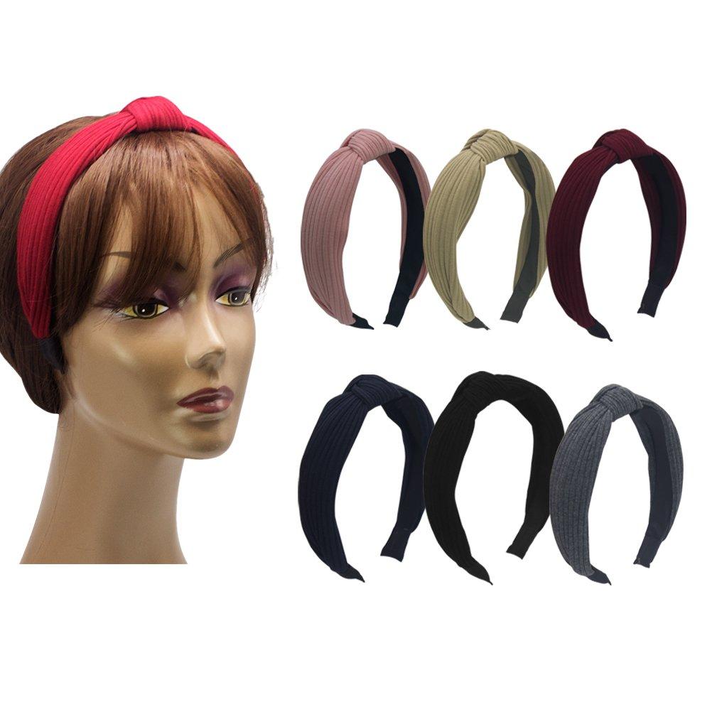 Habibee Pack of 6 Wide Plain Fashion Headbands Knot Turban Headband for Women Girls (Hairbands 6pcs) by habibee (Image #2)