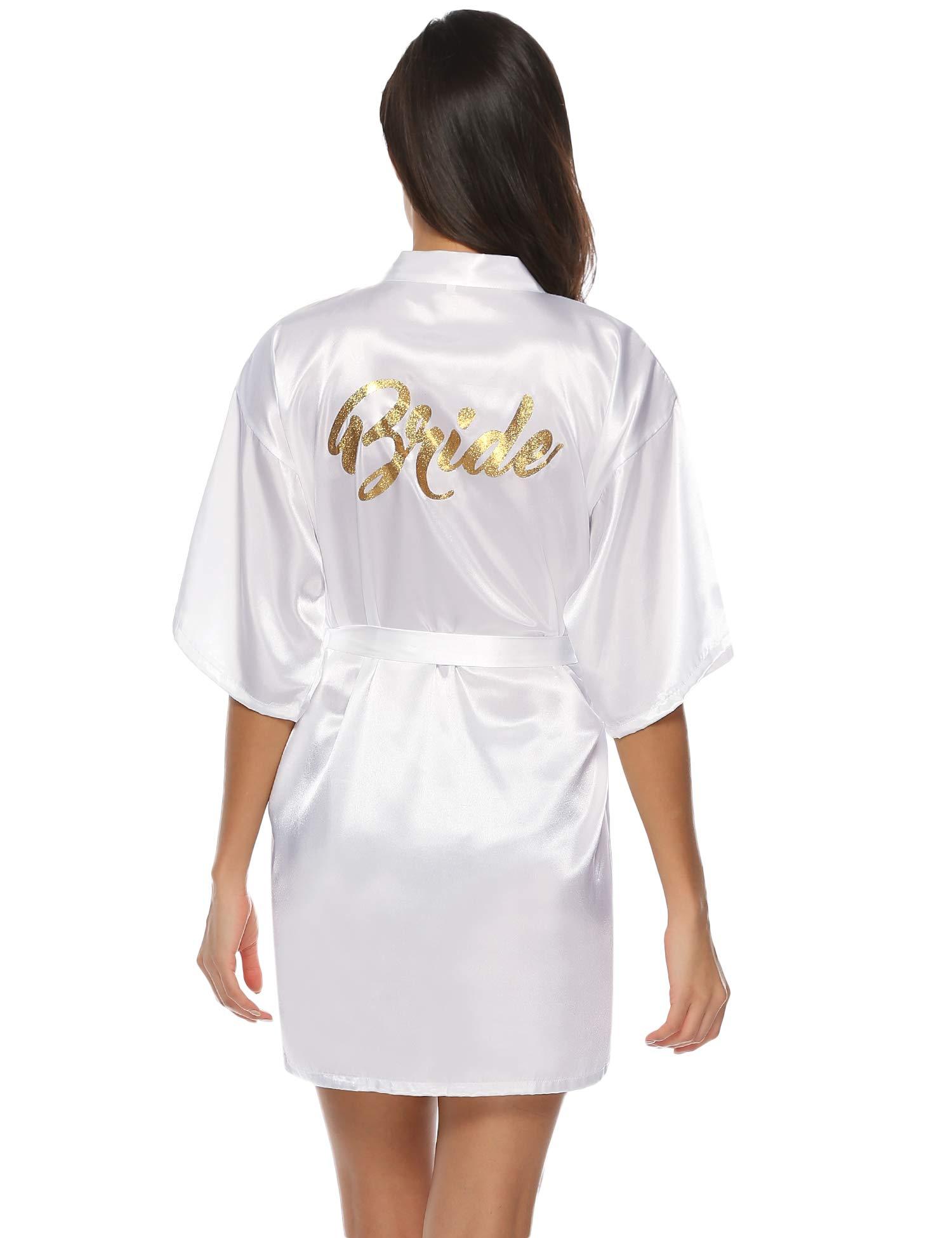 Aibrou Kimono Mujer Bata Novia Dama de Honor Saten Batas Cortos Lenceria de Aspecto Brillante product image