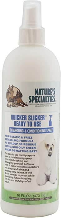 Nature's Specialties Quicker Slicker Ready to Use Conditioner for Dogs Cats, Non-Toxic Biodegradable