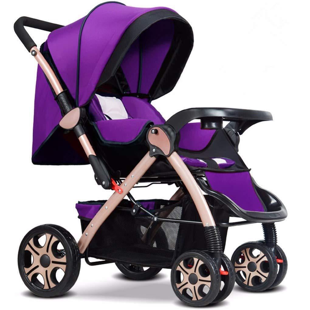 Gxinyanlong High Landscape can sit, Lie Down, Ultra Light Portable Folding Shock Absorber Four Wheeled Baby cart,Violet