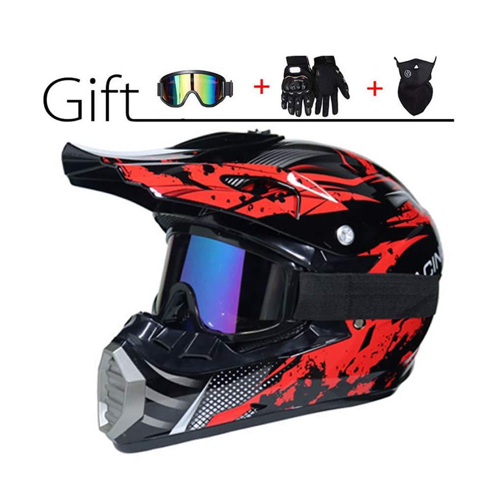 Adulti Casco da Cross Moto Set con Occhiali Maschera Guanti Nero Rosso Professionale Moto Sports off-Road DH Enduro Caschi ATV MTB Quad Casco da Motociclista LEENY Casco di Motocross