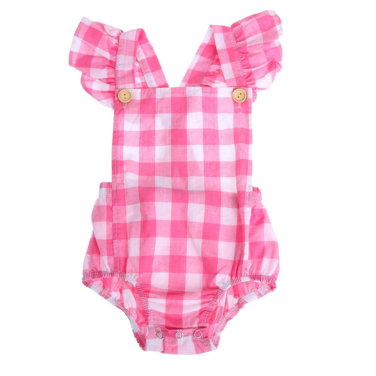 Chinatera Little Girls Fly Sleeve Lattice Romper Summer One-piece Jumpsuits Clothes