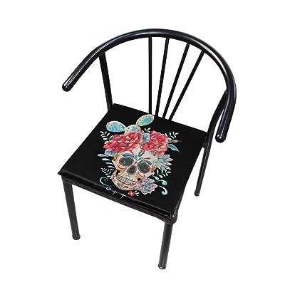 Bardic FICOO Home Patio Chair Cushion Sugar Skull Flower Square Cushion Non-Slip Memory Foam Outdoor Seat Cushion, 16x16 Inch: Home & Kitchen