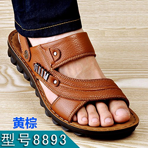 Xing Lin Sandalias De Hombre Verano Sandalias De Hombres Hombres Playa Ocio Antideslizante Shoes Sandalias De Cuero Sandalias De Cuero Transpirable Y Zapatillas Yellow brown