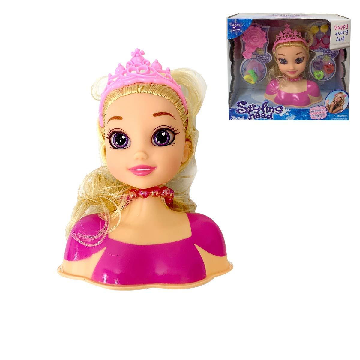 P&F Pretend Play Beauty Makeover Makeup & Hair Dressing Styling Head Doll with Tiara