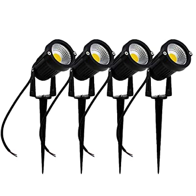 SIKOT High Power Outdoor Decorative Lamp Lighting 5W COB LED Landscape Garden Wall Yard Path Light DC 12V w/Spiked Stand (Cool White) 4 Pack : Garden & Outdoor