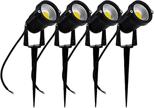 SIKOT High Power Outdoor Decorative Lamp Lighting 5W COB LED Landscape Garden Wall Yard Path Light DC 12V 24V w Spiked Stand Cool White 4 Pack