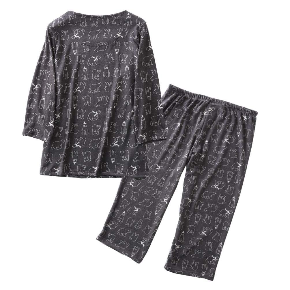 ENJOYNIGHT Women\'s Cotton Pajamas Set 3/4 Sleeve Top & Pants Sleepwear Set Super Soft Loungwear (Bear, Large)