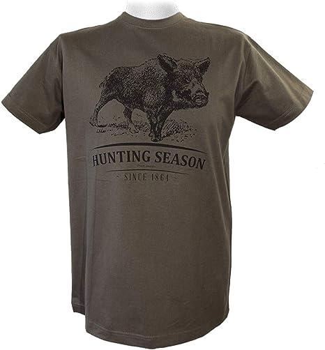 WPW - Camiseta de caza, diseño de ciervo y ciervo, color marrón y verde: Amazon.es: Deportes y aire libre