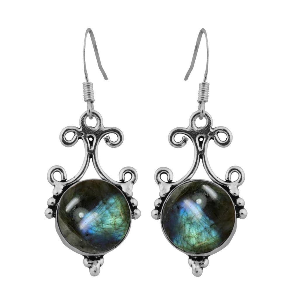 13.20ct, Genuine Labradorite & 925 Silver Plated Dangle Earrings Made By Sterling Silver Jewelry