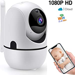 1080P WiFi Baby Monitor HD Wireless IP Camera Home Security Surveillance Video Nanny Pet Cam with Two-Way Audio Night Vision Motion Sensor 360 Rotation Network P2P Dome Webcam with iOS Android App