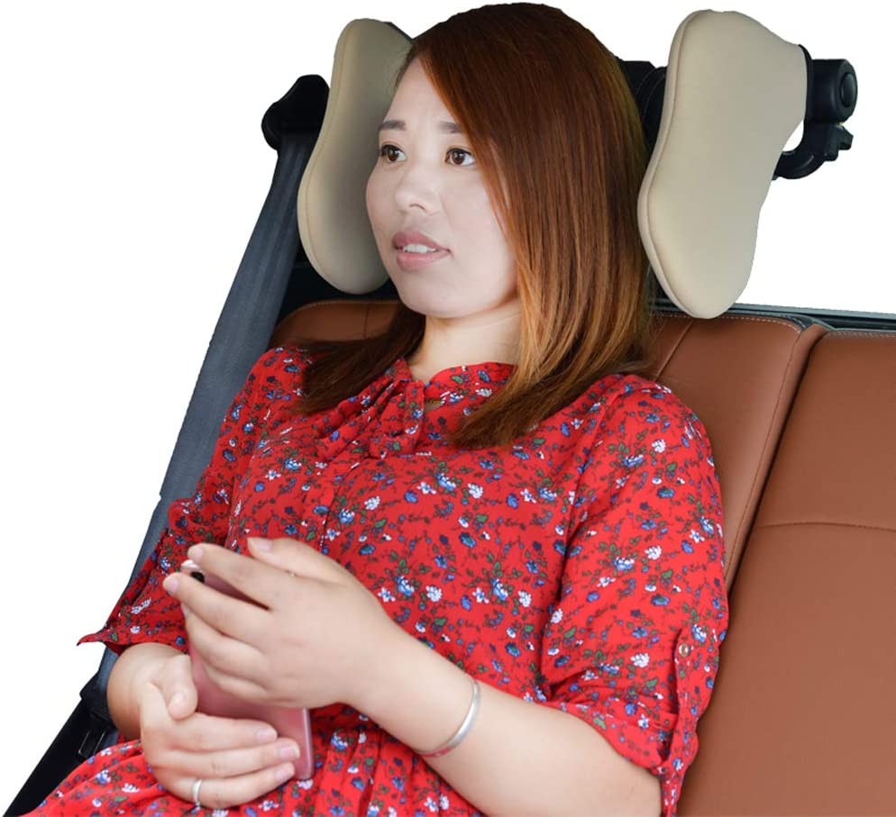 Car Headrest Car Seat Pillow Travelling Car Headrest Neck Pillow Comfortable for Sleep Support on Both Sides for Most Car with Height-Adjustable Seats Black