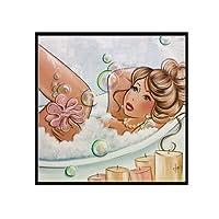 wonCacrostrans Diamond Painting, cartoon Bathing Girl 5D pittura diamante DIY punto croce decorazione da parete
