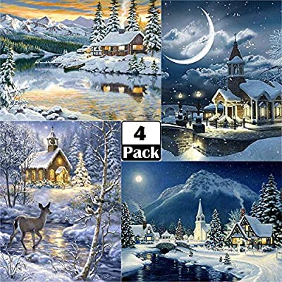 12 X 16 Inch ARTDOT 4 Pack 5d Diamond Painting Kits Full Drill Winter Pictures for Home Wall Decor Gift for Winter