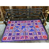 Vintage Sari Tapestry Purple Embroidered Patchwork Beaded Wall Hanging Throw