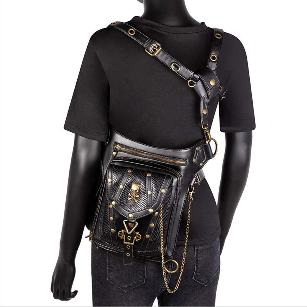 Mochila Negra Cintura Segater Mochila para Senderismo al Aire Libre Brazos Ri/ñonera g/ótica Steampunk ri/ñonera Hombro Bolsa para piernas