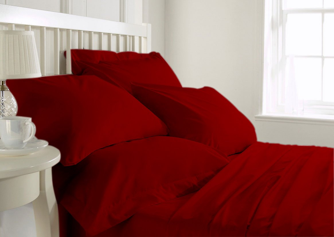 FINE LECHO 100% Luxurious Cozy Egyptian Cotton 4-Piece Bed Sheet Set with 3-Piece Duvet Set 800 Thread Count Fits Up to 18-inch Deep Pocket Wrinkle-Resistant Solid (Cal-Queen, Blood Red)