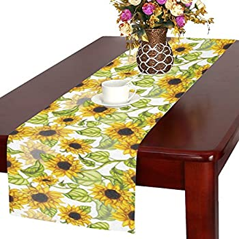 Elegant InterestPrint Summer Time Sunflower Polyester Table Runner Placemat 16 X 72  Inch, Seasonal Floral Tablecloth For Office Kitchen Dining Wedding Party  Home ...