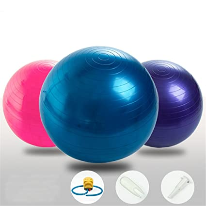 SIMYJOY antipinchazos y antideslizante Fitness/ejercicio pelota de Yoga 65cm con bomba de aire para Yoga Pilates