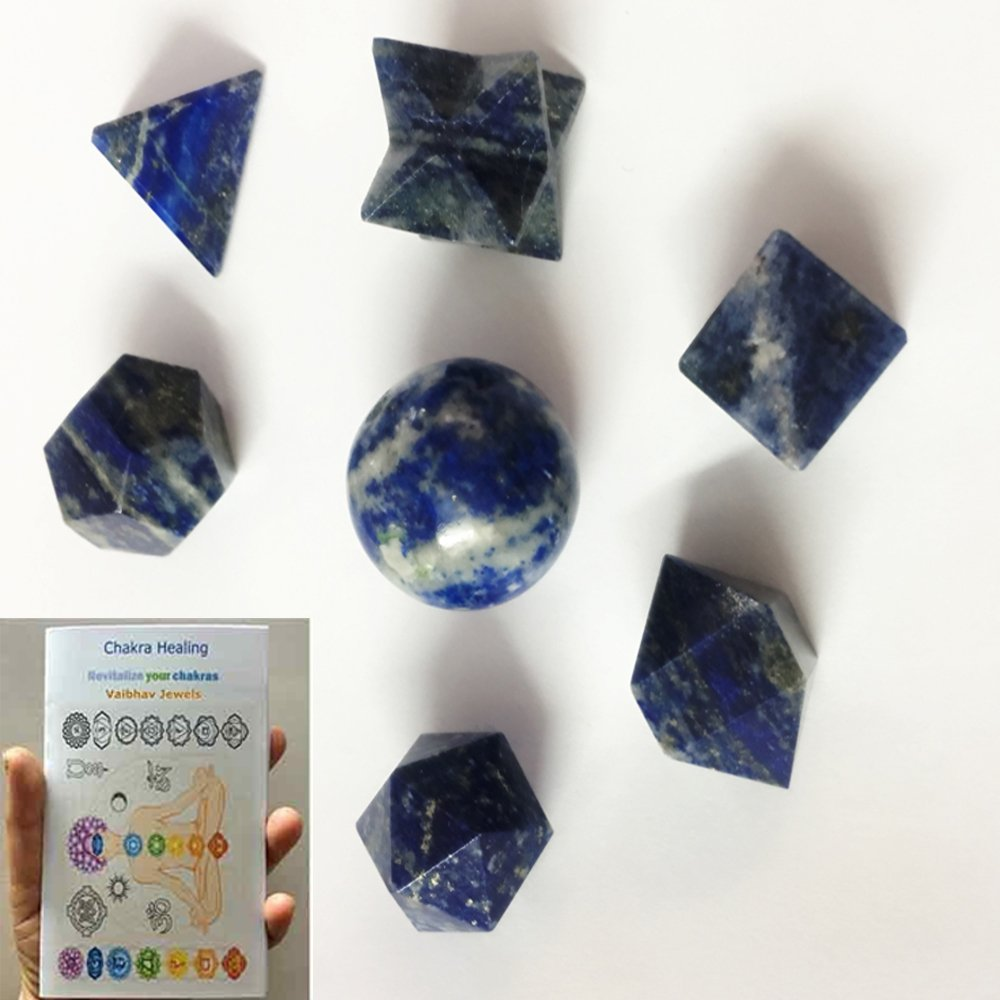 Free 20 Page Chakra Booklet with Lapis Lazuli 7 Stones Sacred Geometry Set comes with Velvet Pouch Its deep, celestial blue remains the symbol of royalty&honor,gods & power,spirit & vision By V JEWELS