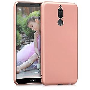 kwmobile Funda para Huawei Mate 10 Lite - Funda de silicona TPU - Funda de protección trasera para teléfono celular oro rosa metálico