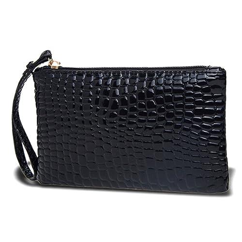 HuntGold 1X Women Portable Alligator Texture Wallet Zipper Clutch Bag Handbag Coin Purse(black)