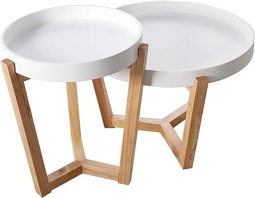 DuNord Design - Juego de 2 mesas auxiliares (Bandeja extraíble ...