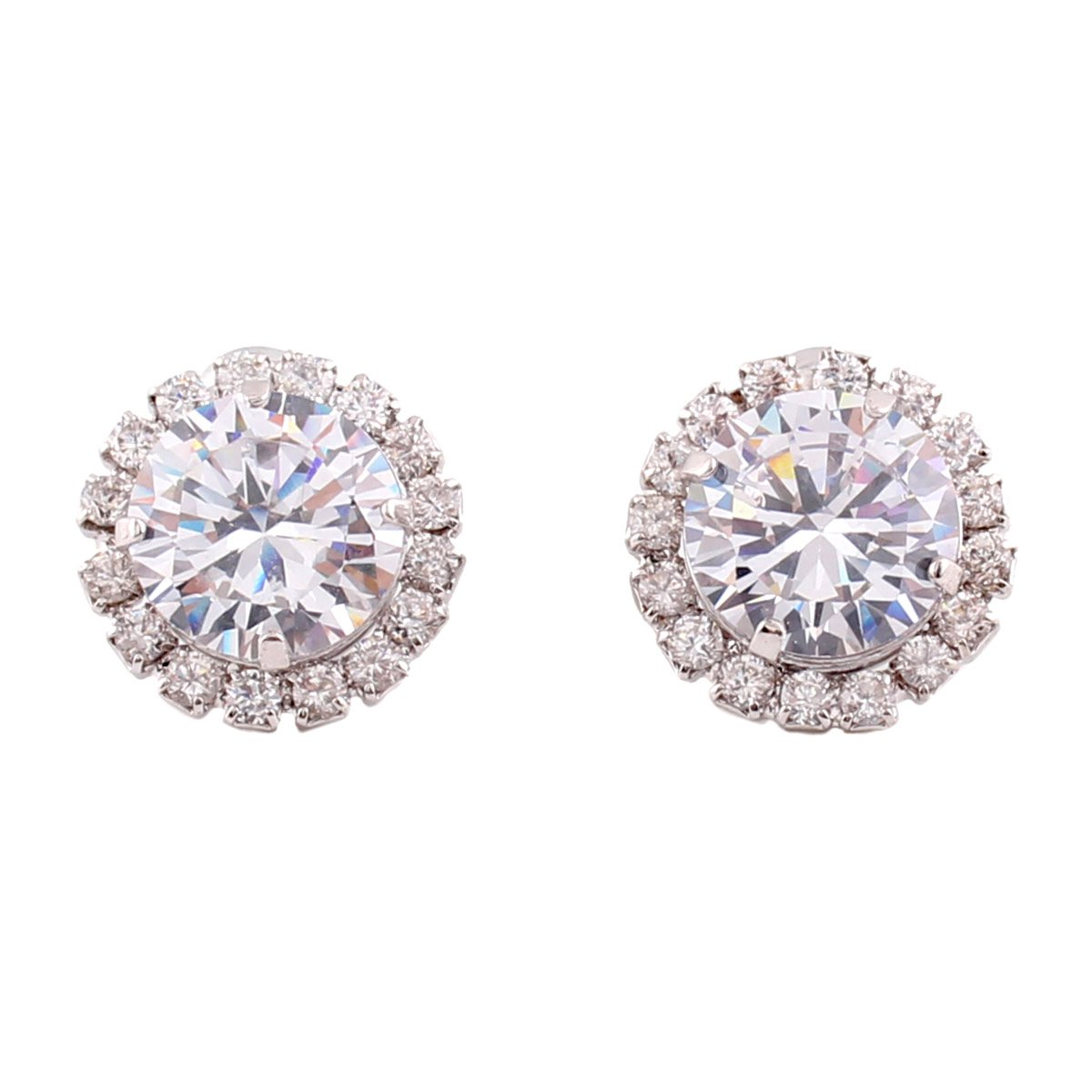 Grace Jun Platinum Plated Round Cubic Zircon Stud Earrings and Clip on Earrings Without Piercing China XHEJ74A