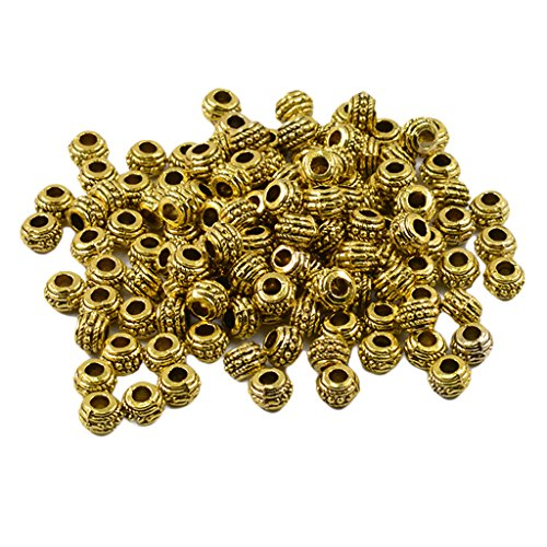 Homyl 100 Pieces 7mm Round Rondelle Spacer Loose Beads Jewelry Making Findings - Antique Gold
