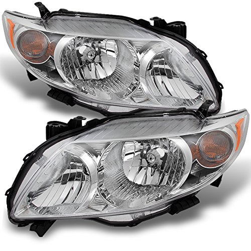 Toyota Corolla Base   LE   XLE Chrome Headlights Driver Left + Passenger Right Side Replacement Pair (Headlight Chrome Corolla Toyota)