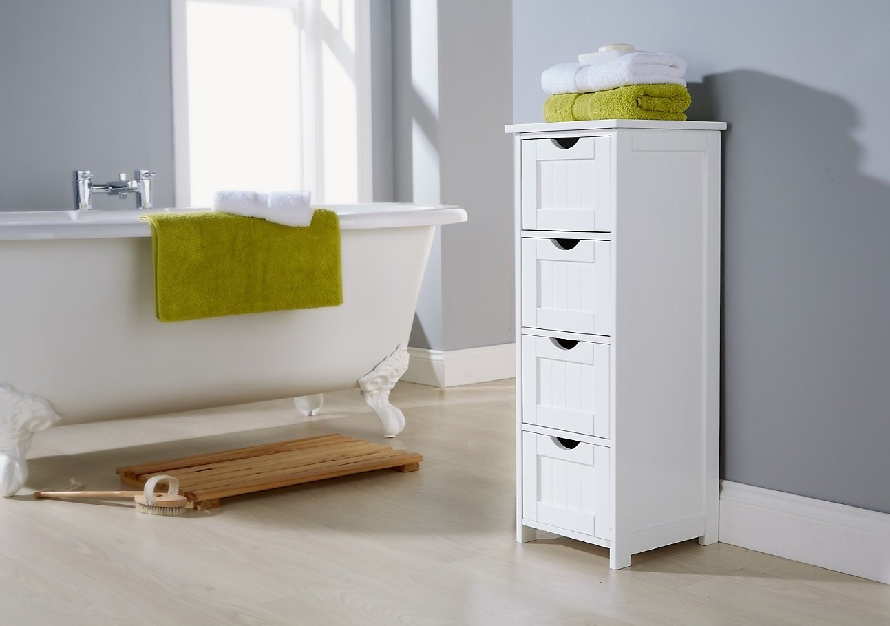Home Source White Bathroom Cabinet 4 Drawer Chest Bath Tidy Narrow Storage Floor Unit G-BTH4DWWHT 4 Drw Bath Chest