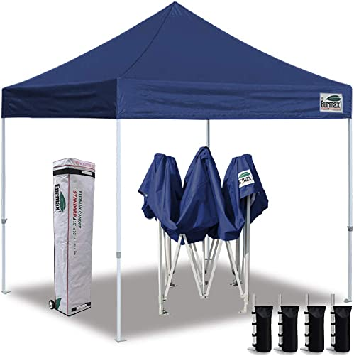 Eurmax 10 x10 Ez Pop Up Canopy Tent Commercial Instant Canopies with Heavy Duty Roller Bag,Bonus 4 Sand Weights Bags Navy Blue