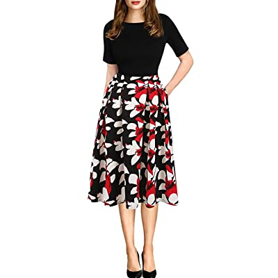Hoeyelpowiu Women's Vintage Print Patchwork Pockets Puffy Swing Casual Party A-Line Dress