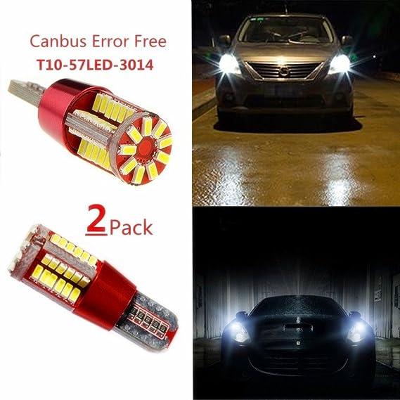 hiyi 2pcs Canbus fehlerlose T10 194 168 57 SMD 3014 LED de luz interior - Auto de peras de diseño de coche de matrícula de posición lámpara: Amazon.es: ...
