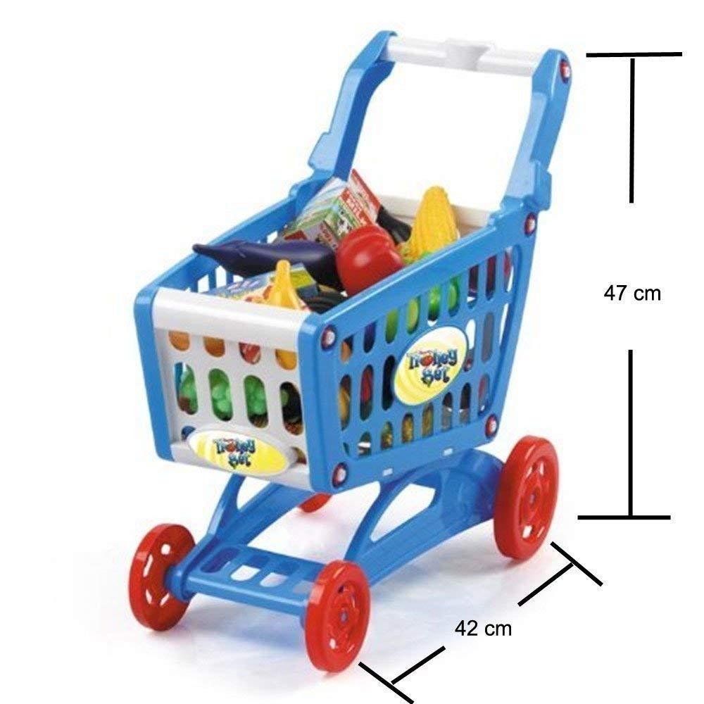 deAO Carrito de la Compra Infantil Incluye Variedad de 50 Productos de Mercado y Comestibles (Azul): Amazon.es: Juguetes y juegos