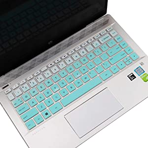 "Keyboard Cover for HP Pavilion X360 14 Silicone Keyboard Skin for HP Pavilion x360 14M-BA 14M-CD 14-BF 14-BW 14-cm 14-CF Series 14"" Laptop Keyboard Protector, Gradual Mint Green (with Squared Keypad)"