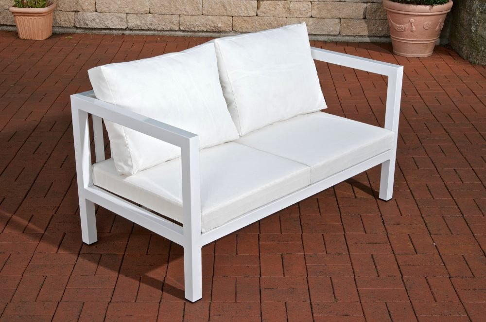 """CLP Outdoor Lounge 2-Sitzer Sofa Vitus aus Aluminium – das """"Sofa-Feeling"""" für Draußen - Größe: 140 x 75 cm, Sitzhöhe 29 cm Weiß"""