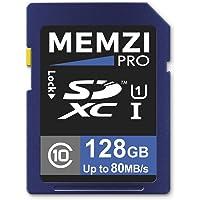 Memzi Pro 128GB Clase 10 80MB/s tarjeta de memoria SDXC para Nikon D7500, D5600, D3400, D7200, D5500, D500, D750, Df, D7100, D7000, D5300, D5200, D5100 SLR Cámaras Digitales