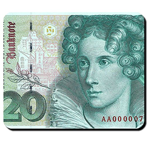 20 German mark bill Currency Annette von Droste-Hülshoff Meersburg - Mouse Pad / (German 20 Mark)