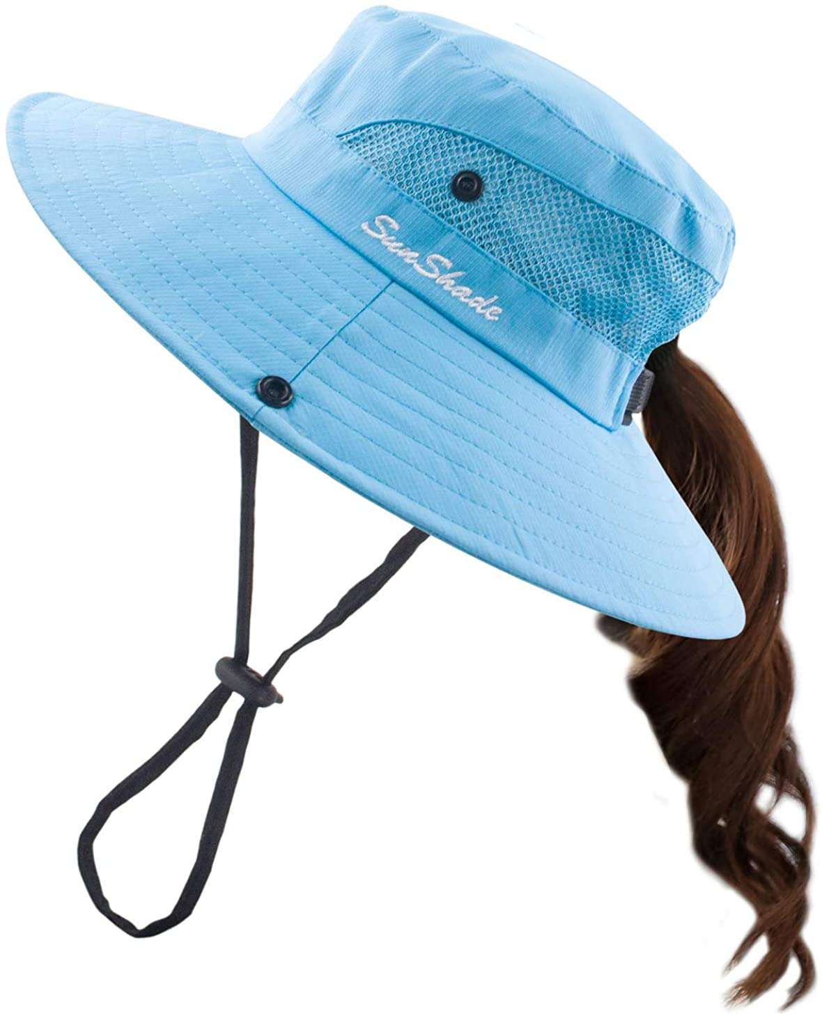 Muryobao Women's Summer Mesh Wide Brim Sun UV Protection Hat with Ponytail Hole