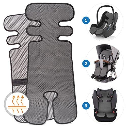 Colchoneta 3D Transpirable para Silla de Paseo / Asiento de verano Universal para cochecitos y sillas de coche - reduce la sudoracion y mantiene al nino fresco - Gris